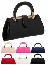 NEW LADIES RETRO PATENT HANDLE WEDDING PARTY PROM EVENING CLUTCH HAND BAG PURSE