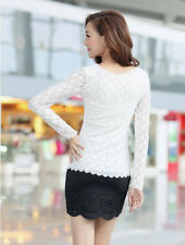 Ladies Blouse O-neck Top Stretch Casual Lace Long Sleeve Women Fashion  T-Shirt