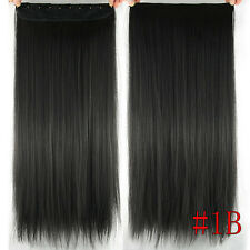 150g 5Clips One Hairpiece Remy Clip In Real Human Hair Extensions Natural Black