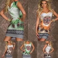 Women Flower Feather Print Chain Vintage Sexy Sleeveless Mini Dress Retro Dress