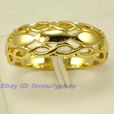 SIZE 5#,6# RING ELEGANT WOVEN STYLE 18K YELLOW GOLD PLATED SOLID FILL GEP  f17