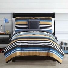 NEW Twin Full Queen Bed 4 pc Black Blue Tan Stripe Reversible Comforter Set NWT