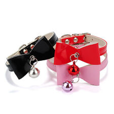 3Colors PU Leather Bowknot Bell Cat Dog Necklace Puppy Collar Pet