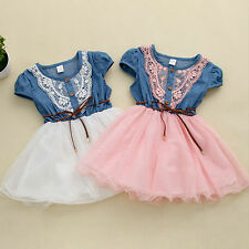 Toddlers Baby Girls Jeans Dress Drawstring Belt Lace Pageant Tutu Dresses Casual