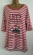 NEW YOURS Plus Size18-32 Pure Cotton Red White Striped Printed Tunic Top T-Shirt