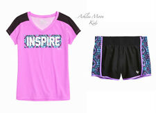 NWT JUSTICE Girls 10 12 Active V-Neck Tee & Ready-to-Run Shorts Outfit