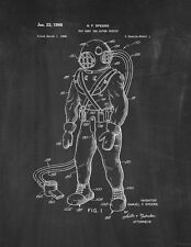 Toy Deep Sea Diver Outfit Patent Print Chalkboard