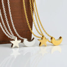 New Women's Punk Silver Gold Chain Moon Star Charm Pendant Necklace Jewelry