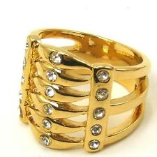 7,9# 6 LAYERS BONE STYLE REAL 18K YELLOW GOLD PLATED RING SOLID FILL GP GEP f19