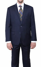 Mens Classic Fit Navy Blue Pinstriped Two Button High Twist Wool Suit