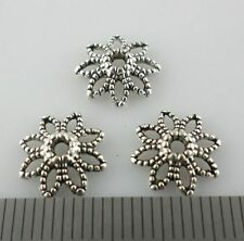 60/120/100pcs Tibetan Silver Hollow Flower End  Bead Caps Charms Jewelry 10x3mm