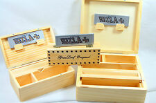 Wooden Rolling Box & Free Rizla Papers Wood Metal Hinge Magnetic S M L Smoking