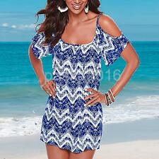 2016 Summer Sexy Women's Strappy Off Shoulder Printed Mini Dress Beach Sundress