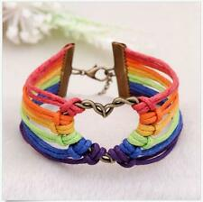Charm Gay Braid Rainbow Pride LGBT Flag Valentine's Gifts Love Bracelet Lesbian