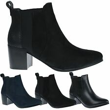 Leah Womens Thick Mid High Block Heel Ladies Chelsea Style Ankle Boots Shoes New