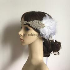 Women Dress Party Feather Fascinator Vintage Crystal Flapper Headband Headpiece