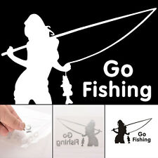 Personality Go FISHING Car Warning Reflective Sticker Graphics Decal White/Black