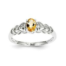 Sterling Silver November Birthstone Citrine & .02 CT Diamond Ring Size 5 to 10