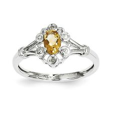 Citrine Sterling Silver & .02 CT Diamond November Birthstone Ring Size 5 to 10
