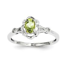 Sterling Silver Peridot & .02 CT Diamond August Birthstone Ring Size 5 to 10