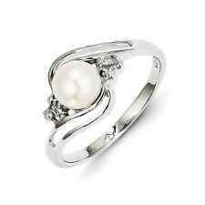 Sterling Silver FW Cultured Pearl & 0.01 CT Diamond Ring 1.68 gr Size 6 to 8