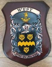 WEST Family Handpainted Coat of Arms Crest PLAQUE - 50.000 names available
