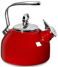 Enamel Steel Classic Tea Kettle Two-Tone Hohner Harmonica Whistle Red Teakettle