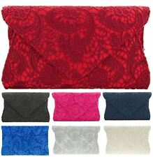 LADIES FLORAL PARTY PROM BRIDAL ENVELOPE EVENING LACE CLUTCH BAG PURSE HAND BAG