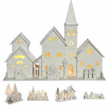 Pre-Lit Wooden Village Scene Christmas Decoration Church House Warm White