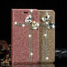 Bling Glitter Bowknot Crystal Diamond Wallet Flip Case Cover For iPhone 5s 6 6s