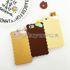 3D Cute Creative Biscuit Rilakkuma Bear Silicone Case Cover For iPhone 6 6S Plus