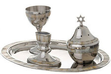 Mother of Pearl Havdallah Candle Holder Tray Set Ceremonial Wine Goblet (4 pc)