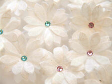 Paper Flowers - Double Daisy, Pk of 30 flowers, White Mulberry Tissue with gems
