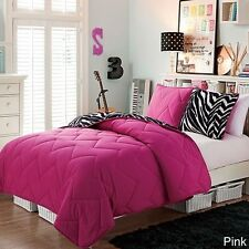 NEW Kids Twin Full Bed Bag Pink Black White Zebra 3 pc Reversible Comforter Set