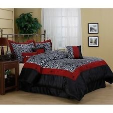 NEW Queen King Bed 7 pc Red Black White Zebra Print Faux Fur Comforter Set NWT