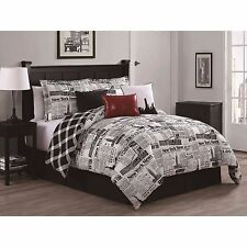 NEW Queen King Bed Black White Red New York Newspaper Plaid 7 pc Comforter Set
