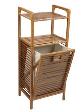 Laundry Hamper Tilt Out Bin Bamboo Slat Frame Space Saving Shelves Towel Linens