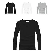 Women's Casual Cotton Crew Neck Long Sleeve T-shirt Tops Basic Solid Tee Blouse