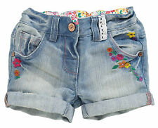 •••ВNWT NEXT Girls' Outfits • Denim Embroidered Shorts • Cotton-Rich • 3-4 Years