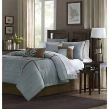 7pc Blue & Brown Micro-Suede Comforter Set w/Bed Skirt Shams AND Pillows