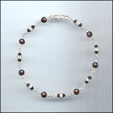 Dainty Sterling Silver Anklet with Swarovski MOCCA BROWN Crystals & Rondelles