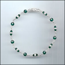 Dainty Sterling Silver Anklet with Swarovski EMERALD GREEN Crystals & Rondelles