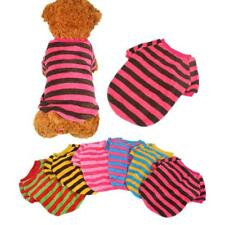 New Coral fleece Pet Dog Clothes Apparel stripe T Shirt 6 Colors Size XXS-L