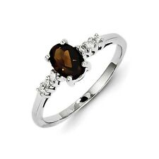 Sterling Silver Oval Smoky Quartz & .10 CT Diamond Ring 1.46 gr Size 6 to 8