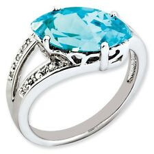Sterling Silver Marquise Blue Topaz & .05 CT Diamond Ring 3.33 gr Size 5 to 10