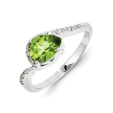 Sterling Silver Pear Cut Peridot & .05 CT Diamond Ring 2.60 gr Size 6 to 9