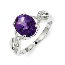 Sterling Silver Round Cut Amethyst & .01 CT Diamond Ring 1.91 gr Size 6 to 8