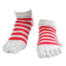 Pair Mens Cotton Socks Striped 5 Toe Socks Casual Dress Socks Antibacterial