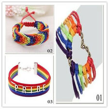 Valentine's Gifts Braid Rainbow Lesbian Bracelet Pride Gay Love Charm LGBT Flag