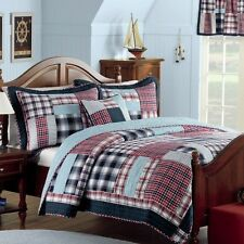NEW Twin Bed Boys Blue Red White Patchwork Plaid 3 pc Quilt Coverlet Set Blanket